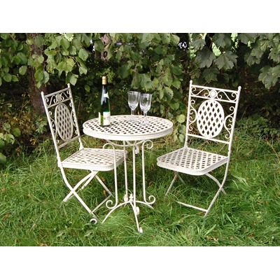 Beau 60cm Cream Metal Bistro Table And 2 Chairs Homegenies