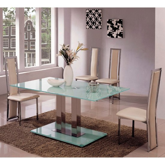 frosted glass dining table and 6 chairs homegenies. Black Bedroom Furniture Sets. Home Design Ideas