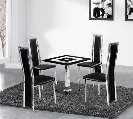 Holly Square Black Glass Dining Table And 4 Chairs