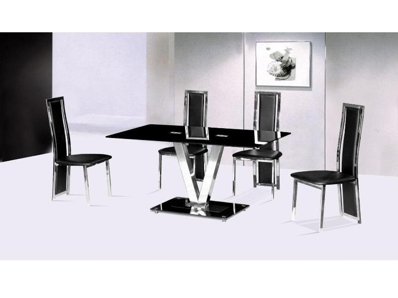 galaxy black glass dining table and 4 black chairs gallery