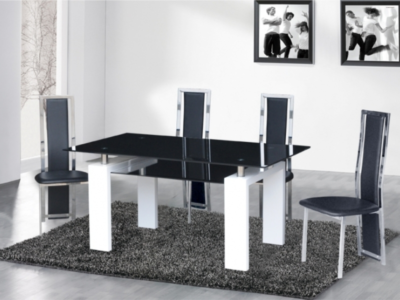 522b0e66ad04d Black glass dining table and chairs white high gloss - Homegenies