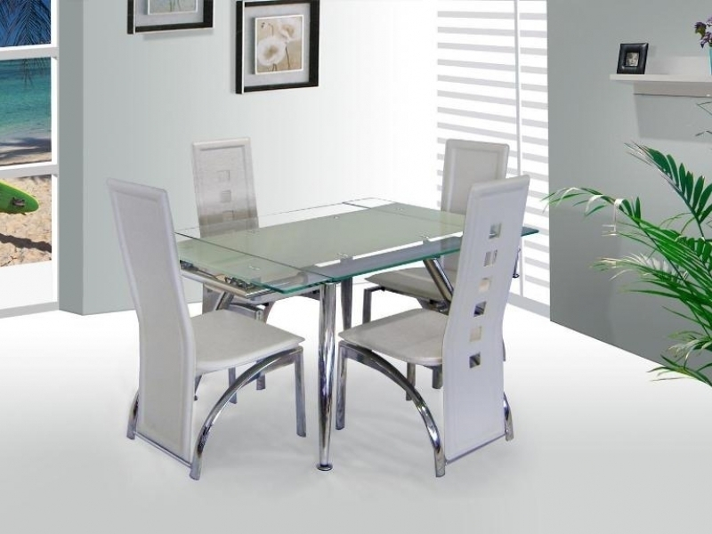 Micha Extenable White Glass Dining Table And 4 Chairs Homegenies