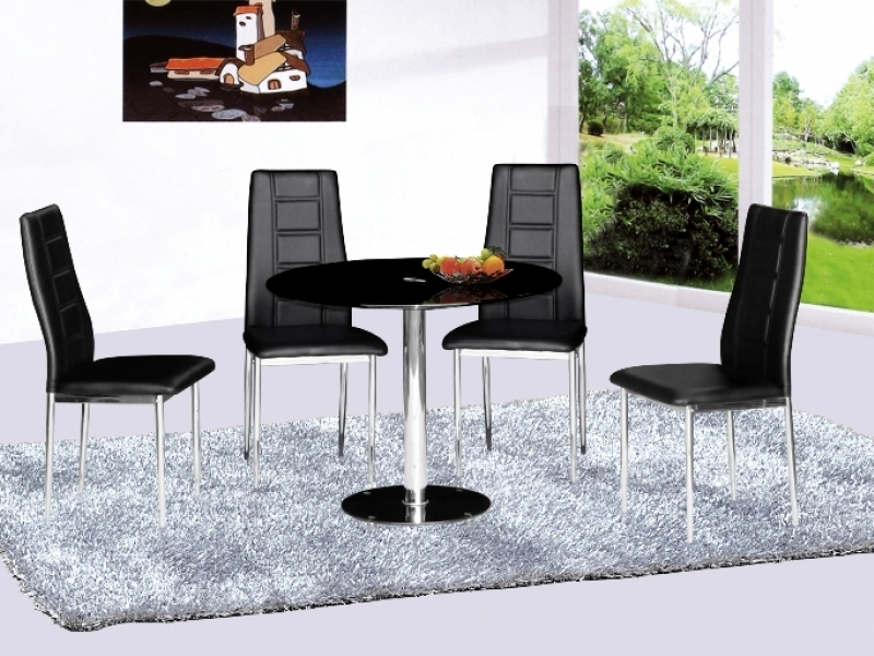 large round glass dining table with 4 chairs homegenies