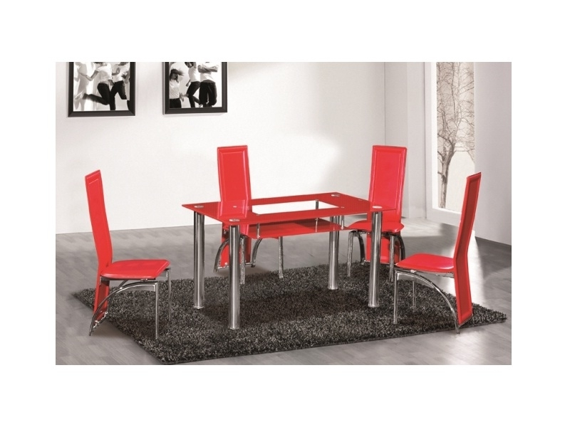 Red Glass Dining Table 6 Seater Set ...