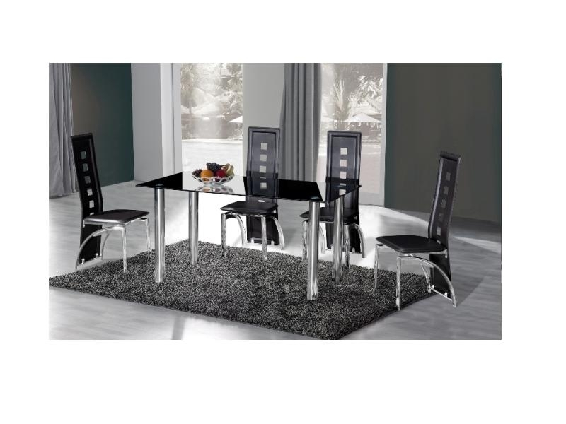 Black glass high gloss dining table with 4 chairs homegenies - Crystal Black Glass Dining Table With 6 Chairs Homegenies