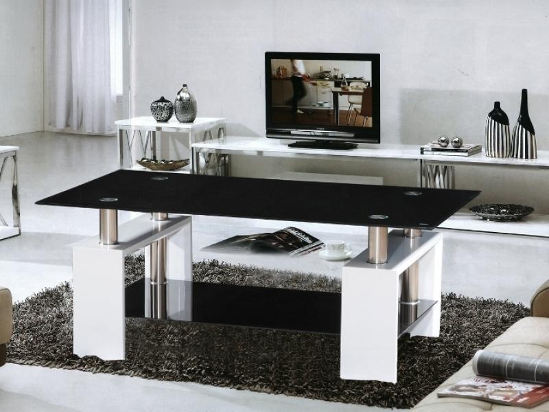 Metro White High Gloss Coffee Table Black Glass Top Homegenies