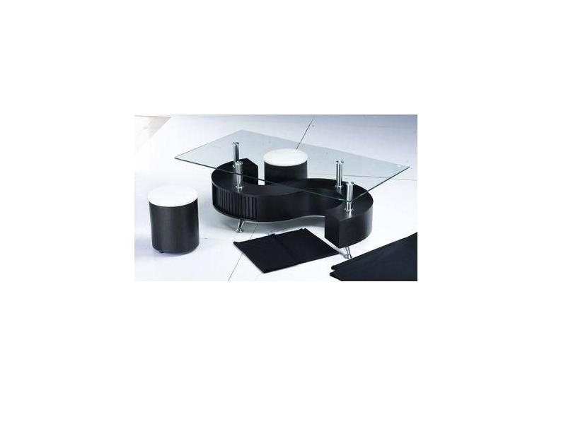 Shaped Black High Gloss Glass Coffee Table 2 Stools Homegenies