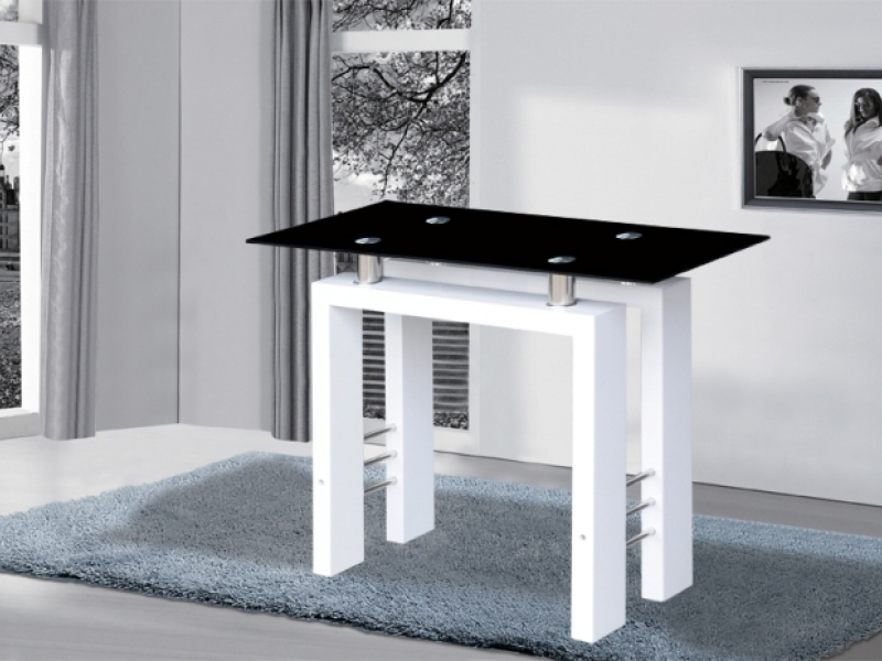 Black glass high gloss dining table with 4 chairs homegenies - Metro White High Gloss Black Glass Console Table Homegenies