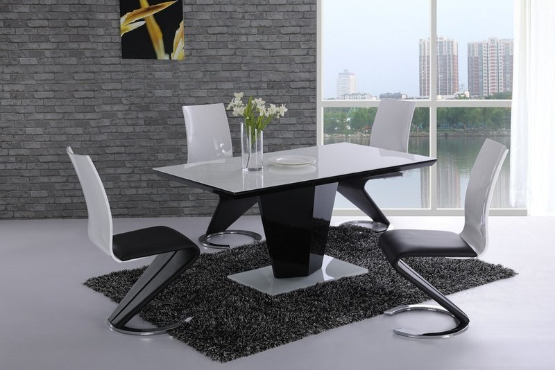 white glass black high gloss dining table and 6 chairs set jpg