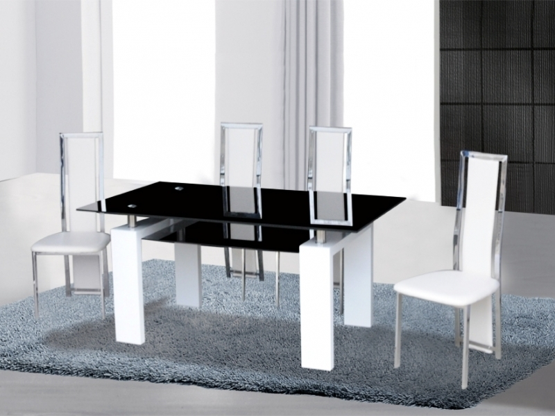 Blackwhite High Gloss Glass Dining Table 4 Chairs Homegenies