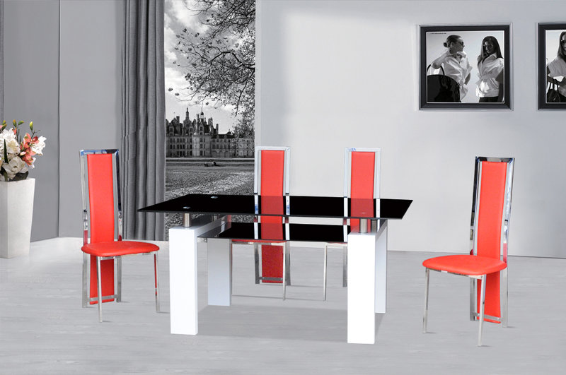 Black Glass Dining Table White Gloss & 4 Red Chairs