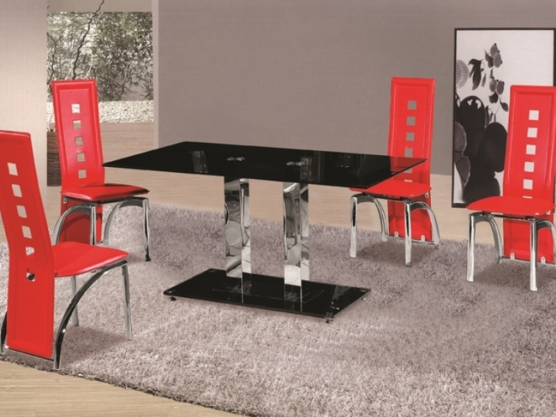 Black Glass Dining Table And 4 Red Chairs Set ...