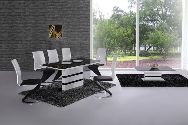 Extending Black Glass White High Gloss Dining Table And 8