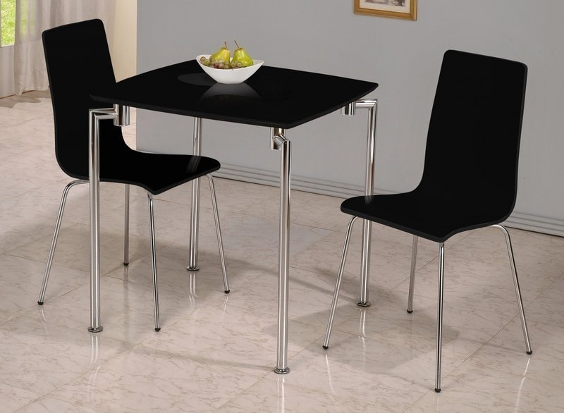 Small black high gloss dining table and 2 chairs homegenies for Small dining table with chairs