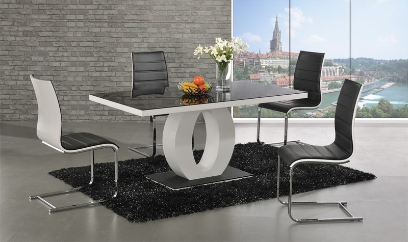 c0435ccc629 Polo glass white high gloss dining table 6 Chairs - Homegenies