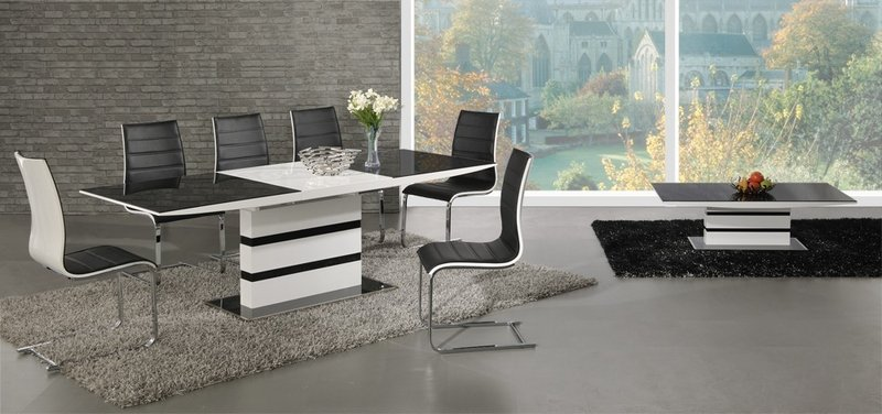 white high gloss black glass extending dining table and 6 chairs set