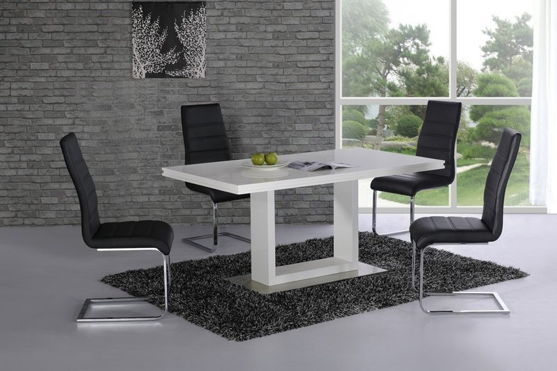 high gloss dining table and 6 chairs white with black homegenies