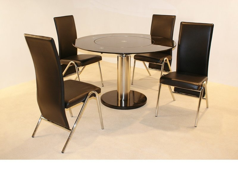 Black Round Glass Dining Table And 4 Chairs Homegenies