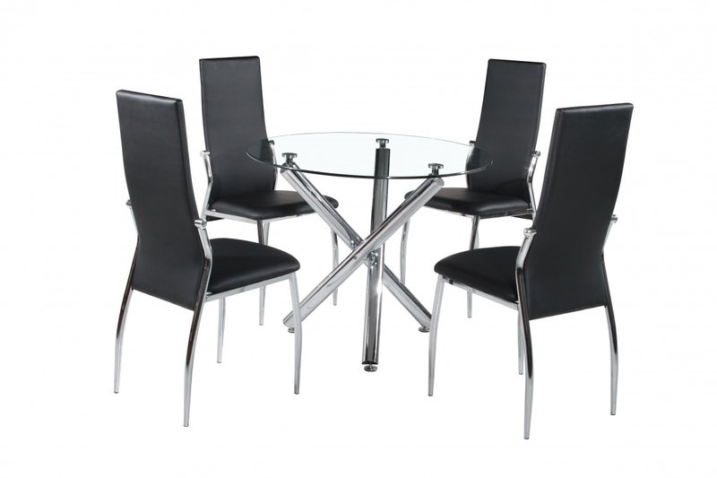 Glass Chrome Round Dining Table And 4 Chairs Homegenies