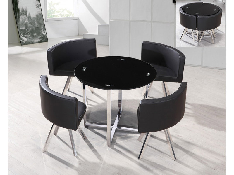 Round Black Glass Chrome Dining Table And 4 Chairs Homegenies