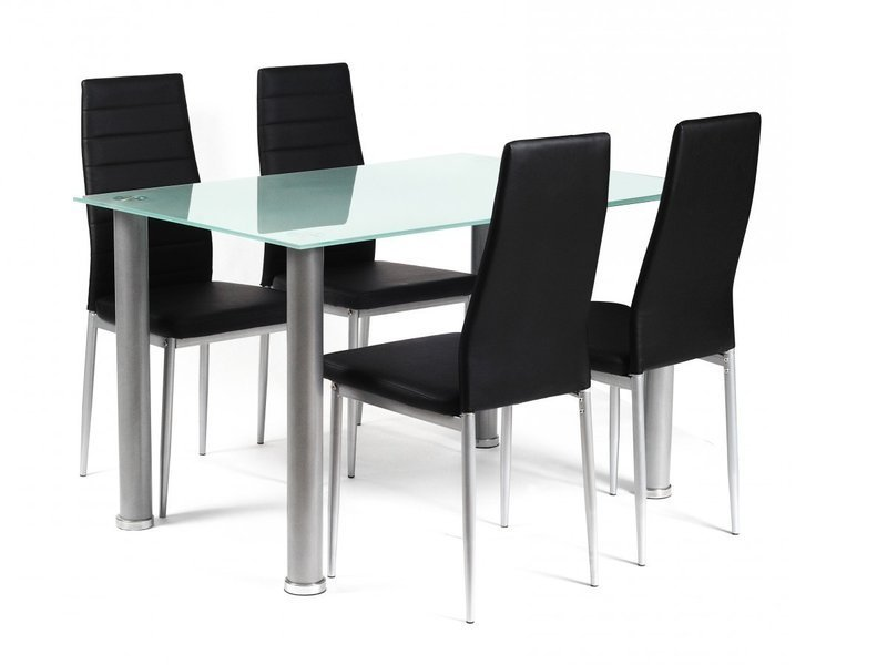 Frosted rectangular glass dining table and 4 black chairs for Black dining table and 4 chairs