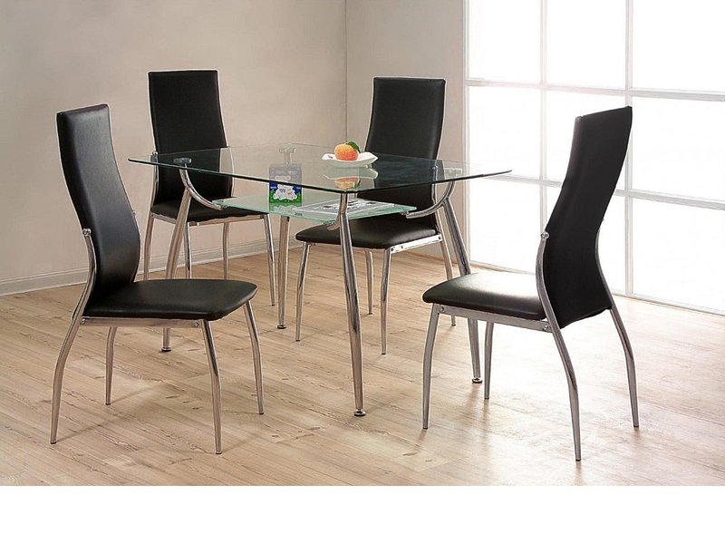 Glass Chrome Dining Table And 4 Chairs Homegenies
