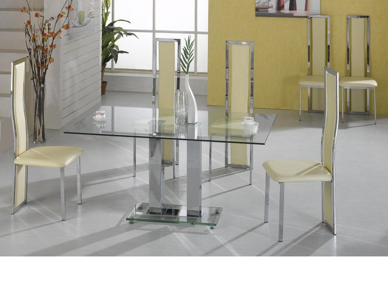 Clear Kitchen Table Part - 32: Large Clear Glass Dining Table And 6 Cream Chairs ...