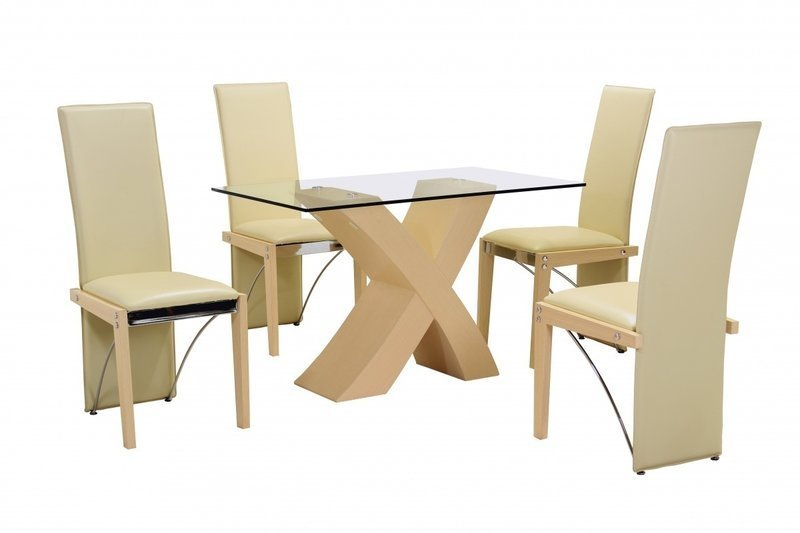 Beech Small Clear Glass Dining Table And 4 Faux Cream Chairs