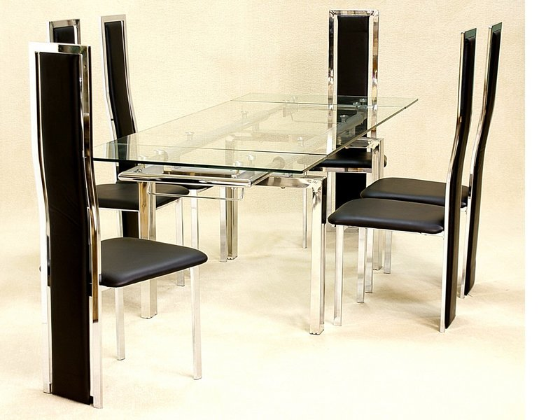 Large Clear Glass Extending Dining Table And 6 Chairs