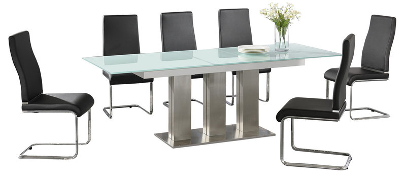 Large Extending Glass Dining Table And 6 Black Chairs Homegenies