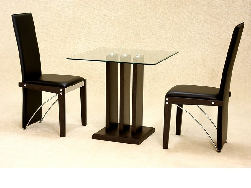 small clear square glass dining table and 2 chairs homegenies. Black Bedroom Furniture Sets. Home Design Ideas
