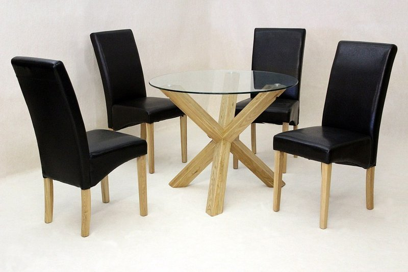 Black glass high gloss dining table with 4 chairs homegenies - Round Glass Dining Table Oak Base And 4 Chairs Homegenies