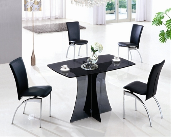 Small Black Glass Tables: Smoked Glass Dining Table And 4 Black Chairs
