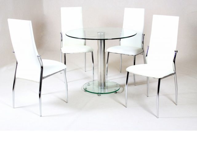 small round clear glass dining table and 4 faux chairs in cream set