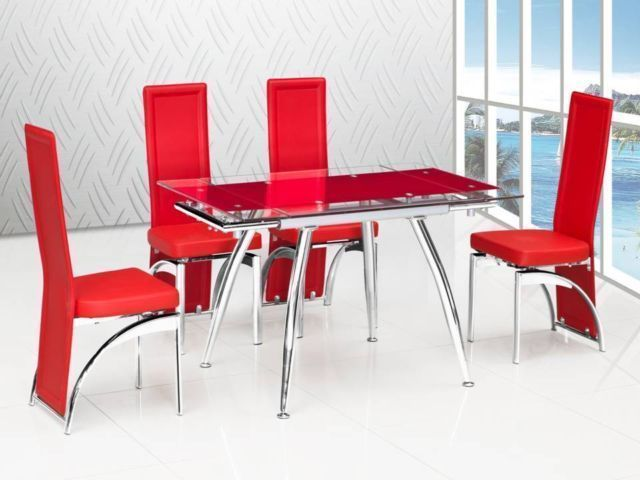 red extending glass dining table and 4 chairs