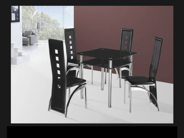 Small Square Black Glass Dining Table And 4 Chairs Homegenies