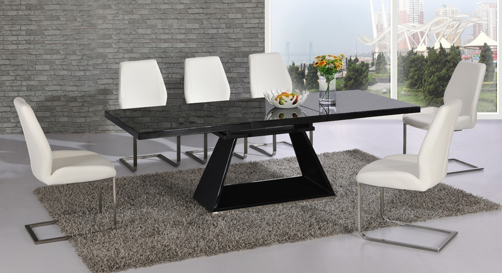 Black glass extending high gloss dining table and 6 white for Black glass dining table