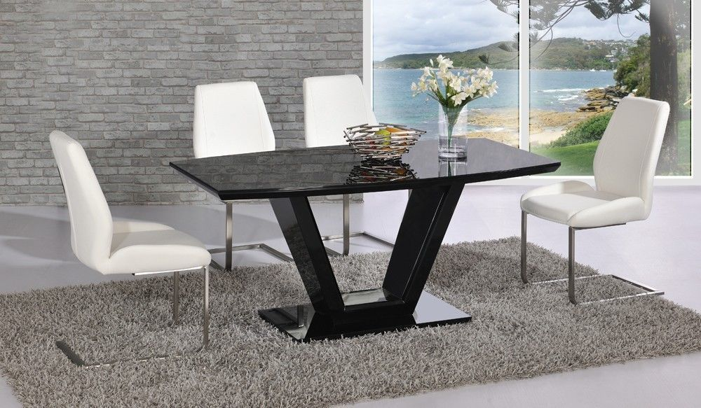 black glass high gloss dining table with 4 chairs homegenies