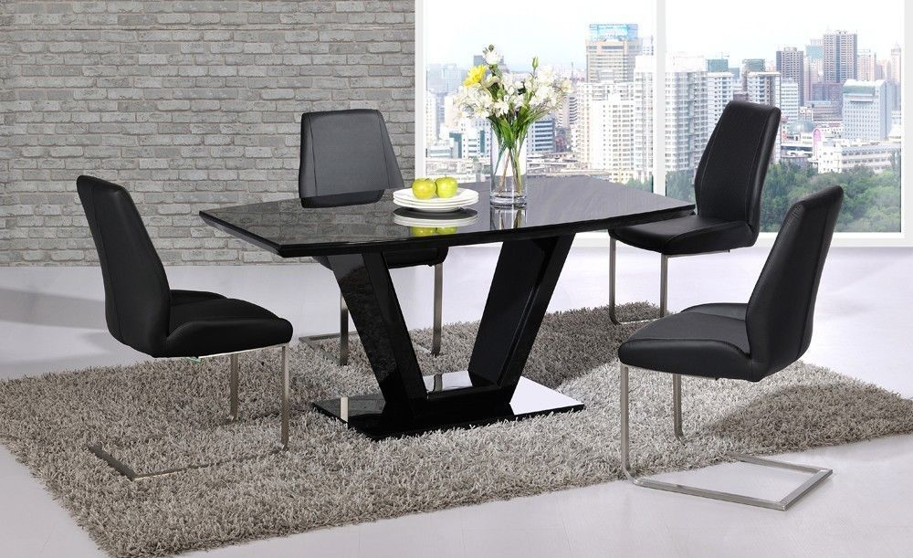 Black glass high gloss dining table set and 6 chairs for High chair dining table set