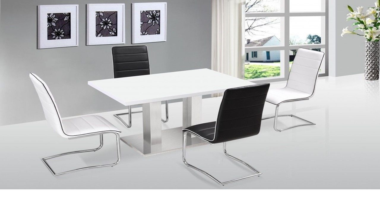 Ultra modern white high gloss dining table 4 chairs for Stylish dining table set