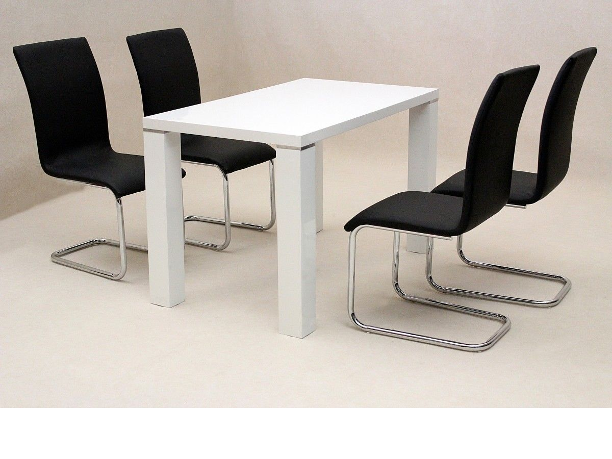 White high gloss dining set with 4 chairs homegenies for High chair dining set