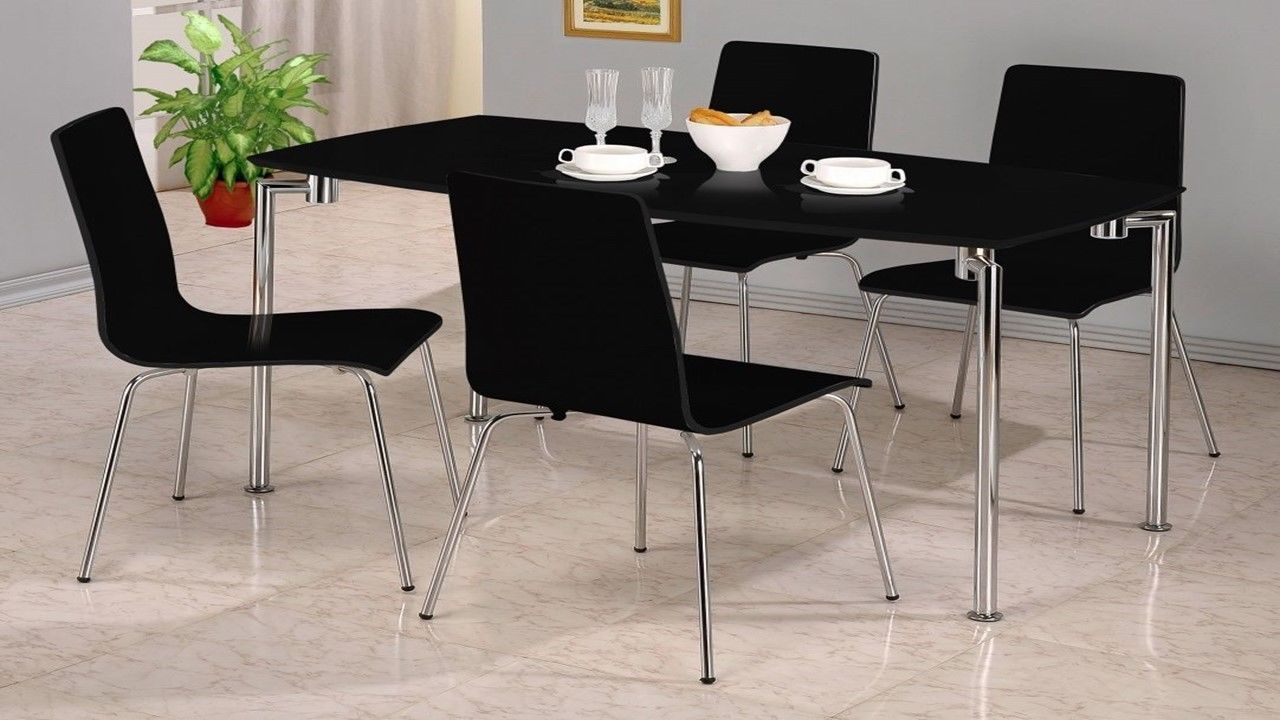 Small black high gloss dining set 4 chairs homegenies for Small black dining table set