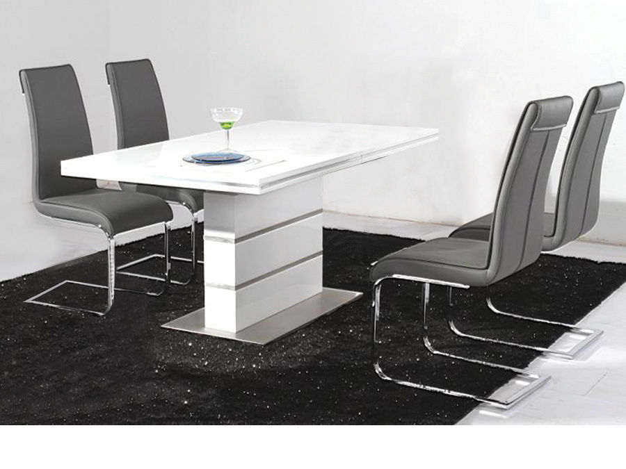 White High Gloss Dining Table And 4 Black Chairs Set Homegeines