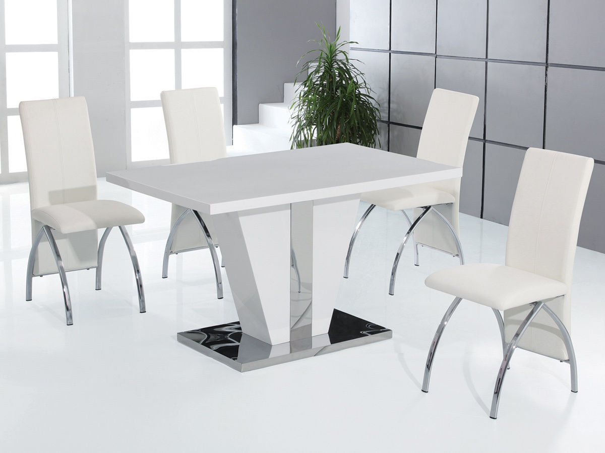 Full white high gloss dining table and 4 chairs set for High chair dining room set