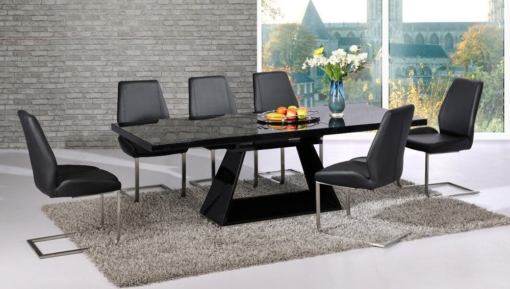 Extendable black glass high gloss base dining table and 8 for Extendable glass dining table