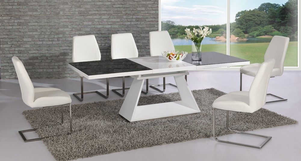 white high gloss extending black glass dining table and 8 chairs set