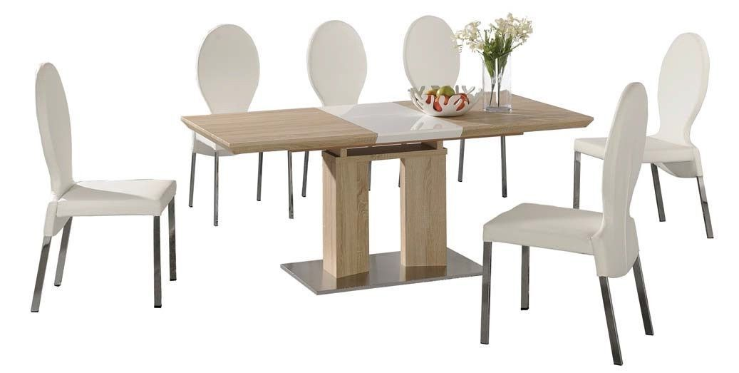 Extending dining table and 6 white chairs wood finish for White and wood dining table and chairs