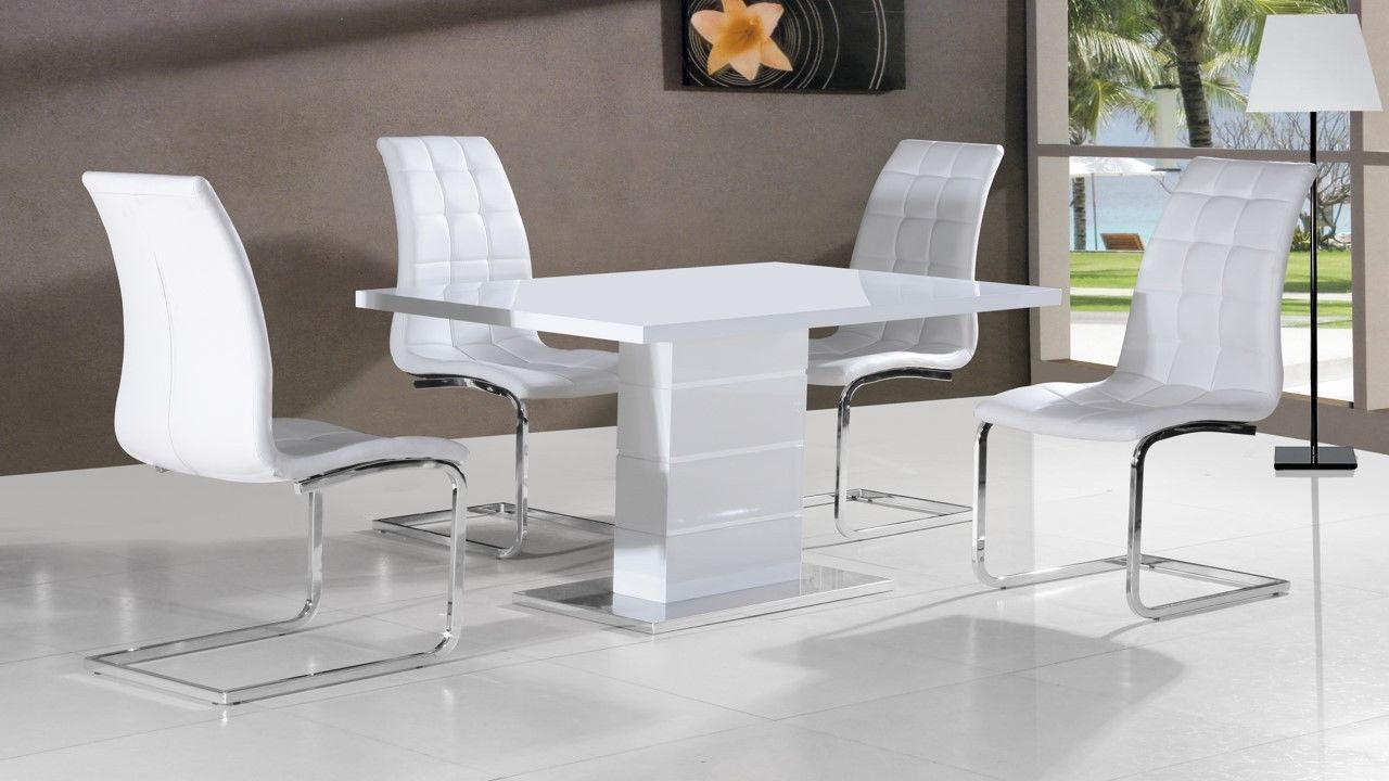 Full white high gloss dining table and 4 chairs homegenies for High table and chairs dining set