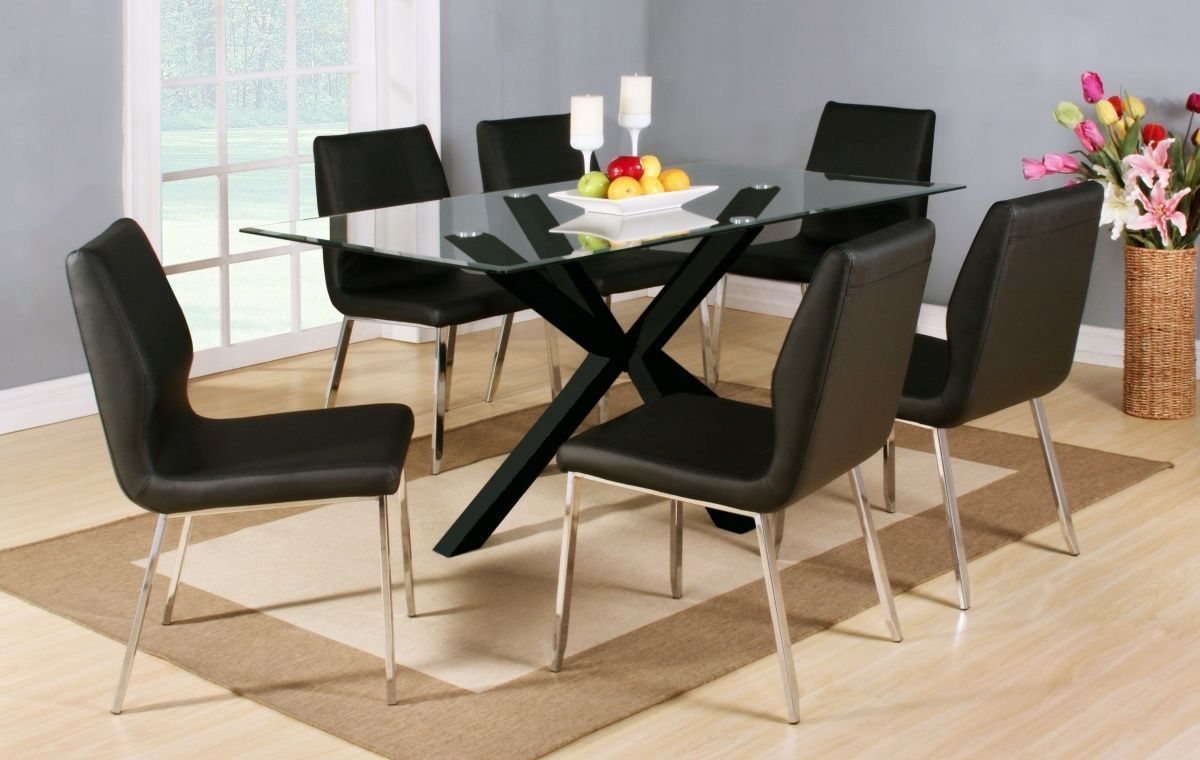 Clear glass black high gloss dining table and 6 chairs for High dinner table set