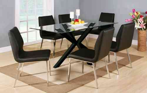 clear glass black high gloss dining table and 6 chairs set
